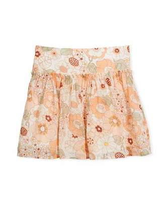 Chloé Pleated Floral Skirt, Size 6-10