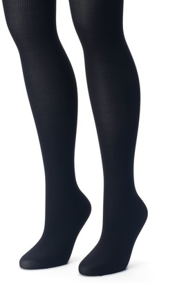 Apt. 9 Plus Size 2-pk. Ribbed & Solid Tights