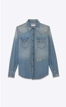 Saint Laurent Western-Style Shirt In Destroyed Denim