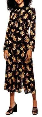 Topshop Floral Long Sleeve Midi Dress