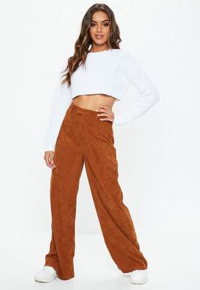 Missguided Tan Cord Wide Leg Pants