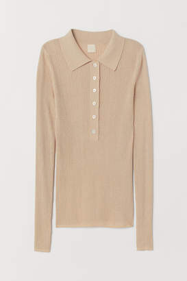 H&M Top with Collar - Brown