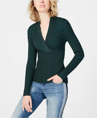 INC International Concepts I.n.c. Ribbed Surplice Sweater