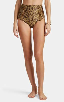 Zimmermann Women's Juniper Floral High-Waist Bikini Bottom - Gold