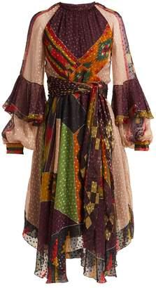 Etro Lea fil-coupé patchwork midi dress