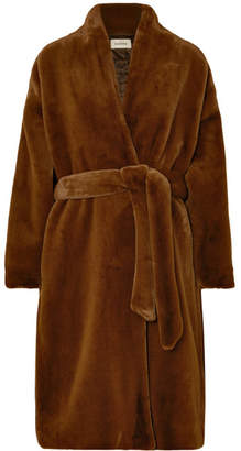 Totême Chelsea Belted Faux Fur Coat - Chocolate