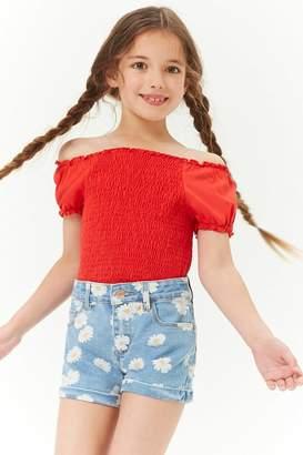 Forever 21 Girls Daisy Graphic Denim Shorts (Kids)