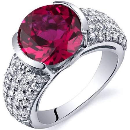 Oravo 5.00 Carat T.G.W. Created Ruby Rhodium-Plated Sterling Silver Engagement Ring