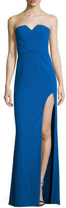 Halston Strapless Stretch Crepe Column Gown, Lapis