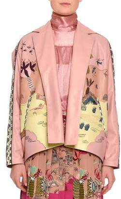 Valentino Jungle of Delight Embroidered Leather Jacket, Blush/Multi $13,000 thestylecure.com