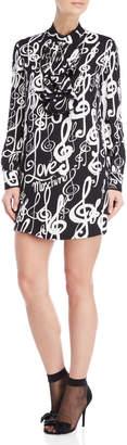 Love Moschino Music Print Ruffle Neck Long Sleeve Dress