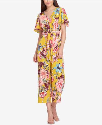 Tahari ASL Floral Print Flutter-Sleeve Jumpsuit