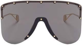 Gucci Oversized Mask Metal Sunglasses - Mens - Gold