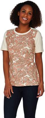 Denim & Co. Short Sleeve Paisley Front Knit Top with Solid Back