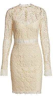 ML Monique Lhuillier Women's Long Sleeve Lace Cocktail Dress