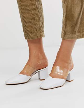 clear Depp leather strap heeled mules in white