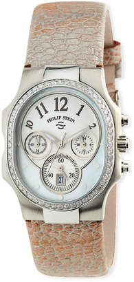 Philip Stein Teslar Classic Chronograph Watch w/ Diamond Bezel, Champagne