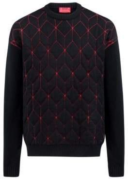 HUGO Boss Oversized-fit sweater in virgin wool geometric pattern S Red