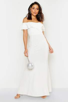 0678667a5367 boohoo Bardot Double Ruffle Sweetheart Maxi Dress