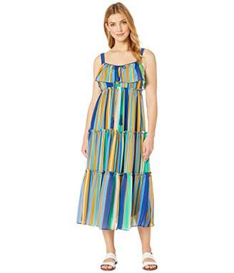 Taylor Dresses Women's Sleeveless Vertical Stripe Maxi Dress