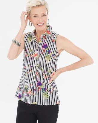 No Iron Sleeveless Floral Striped Button-Back Shirt