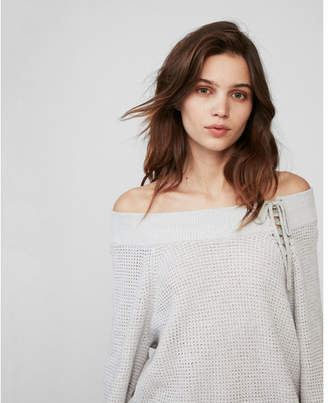 Express off the shoulder lace-up bucket sleeve tunic