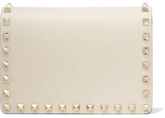 Valentino Garavani The Rockstud Leather Shoulder Bag - Cream