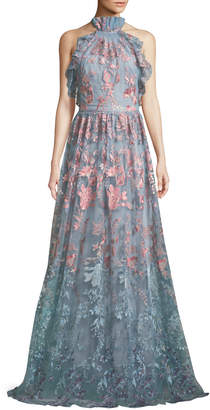 Marchesa Ombre Floral Embroidered Halter Gown