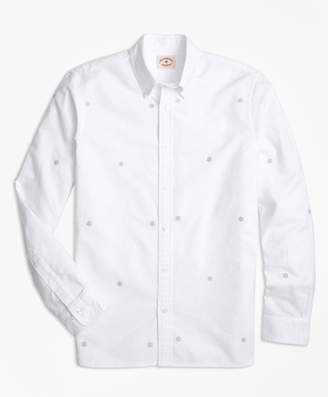 Brooks Brothers Snowflake-Embroidered Cotton Oxford Sport Shirt