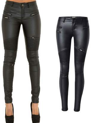 c835c7162a2 lexiart PU Leather Pants For Women Sexy Tight Stretchy Rider Leggings US 4
