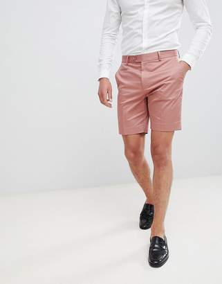 Asos DESIGN slim mid length smart shorts in dusky pink cotton sateen