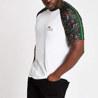 River Island Mens Big and Tall white peacock raglan T-shirt