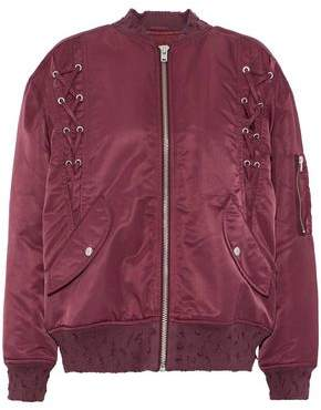IRO Lace-Up Distressed Shell Bomber Jacket