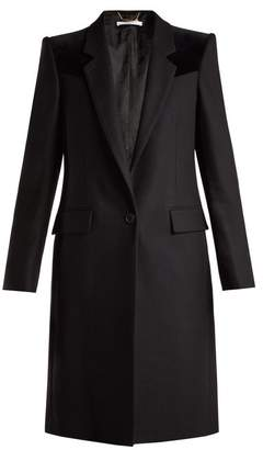 Givenchy - Velvet Trimmed Wool Blend Coat - Womens - Black