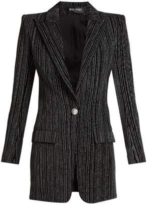 Balmain Striped single-breasted velvet blazer