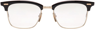 Thom Browne Navy & Gold Horn-Rimmed Glasses $650 thestylecure.com