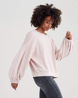 7 For All Mankind Puff Sleeve Sweatshirt in Pink Sunrise