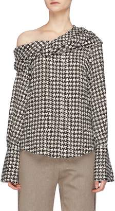 Hellessy Twist shawl collar houndstooth blouse