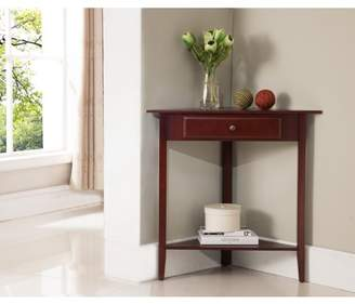 Pilaster Designs Ulma Walnut Wood Corner Accent Side End Plant Stand Display Table With Storage Drawer & Shelf