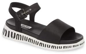 Miu Miu Logo Strap Platform Sandal