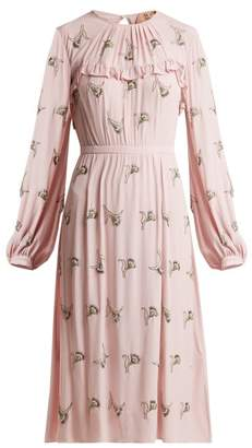 No.21 No. 21 - Floral Embellished Crepe Dress - Womens - Pink Multi