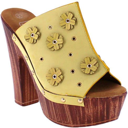 Yellow Floral Cami Platform Sandal - Women