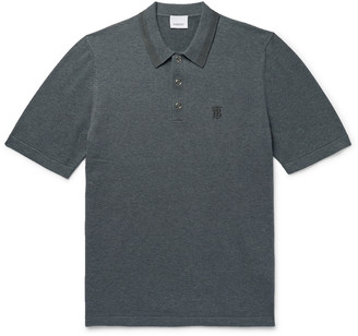 Burberry Contrast-Tipped Melange Cotton Polo Shirt - Men - Gray