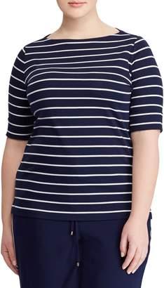 Lauren Ralph Lauren Plus Striped Boatneck Tee