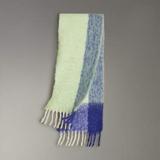 Burberry Two-tone Mohair Wool Scarf, Green