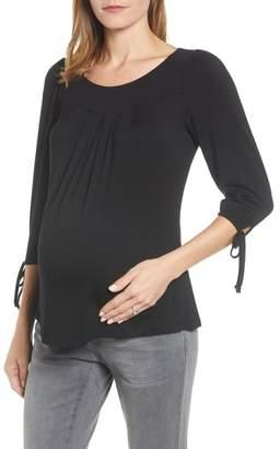 Maternal America Maternity Tie Sleeve Top