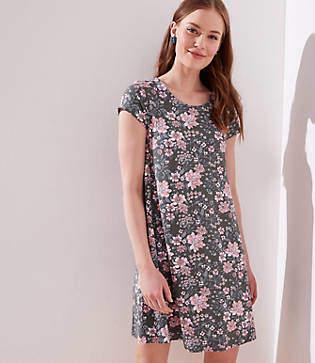 LOFT Floral Short Sleeve Swing Dress