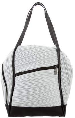 Pleats Please Issey Miyake Leather-Trimmed Shoulder Bag
