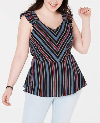 Monteau Trendy Plus Size Striped Peplum Top