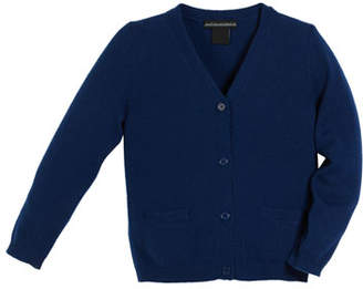 Sofia Cashmere V-Neck Jersey Cashmere Cardigan, Size 2-6